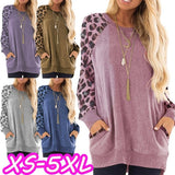 Casual Women's Plus Size Round Collar Leopard Splicing Long Sleeve Tops Loose Shirts Autumn Pocket Pullover Tops