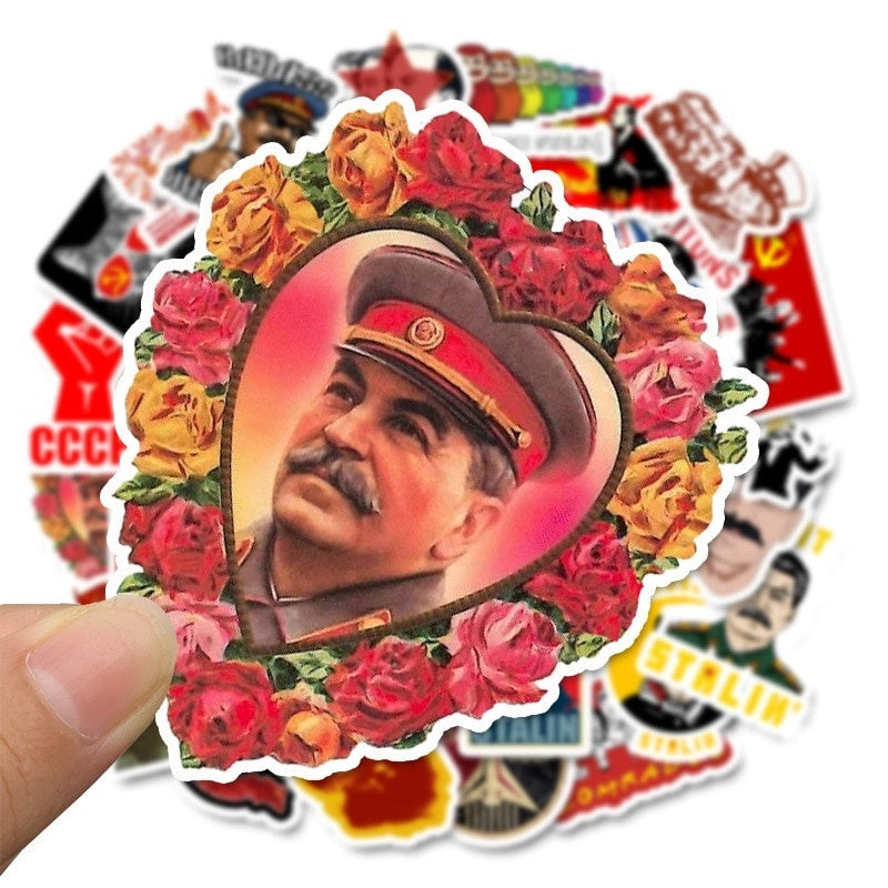 30/50PCS Not Repeat Soviet Union Stalin USSR CCCP Leader Stickers Waterproof PVC Stickers for Luggage Laptop Skateboard Car Styling Phone DIY Stickers Decoration