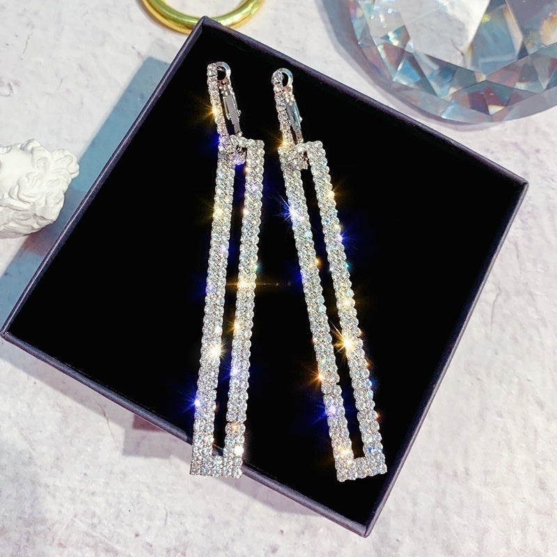 Fashion jewelry 925 silver fashion exaggerated diamond earrings 100 diamond stud earrings for women