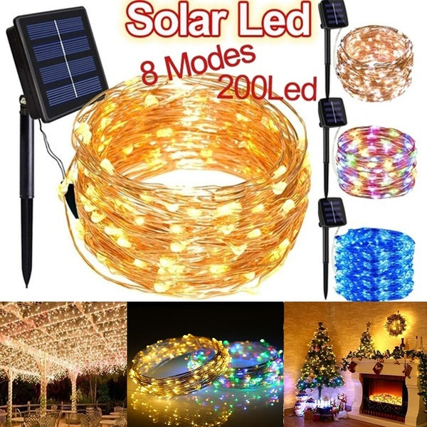 50/100/200 LEDs USB/Solar String Lights 8 Modes Solar Powered Copper Wire Fairy Lights IP65 Waterproof Indoor Outdoor Lighting for Home, Garden, Party, Path, Bedroom, Wedding, Christmas, DIY Decoration