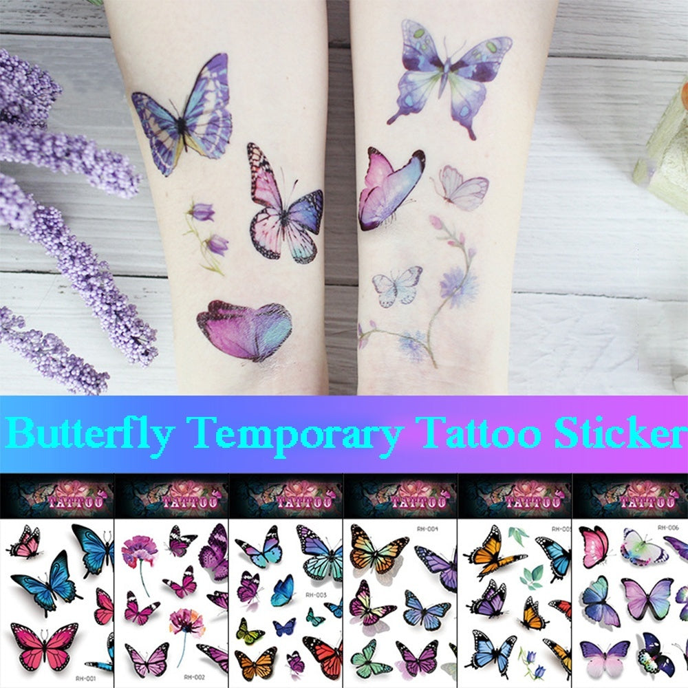 1 Sheet Cute Colorful Rose Watercolor Sexy Waterproof Butterfly Taty Temporary Tattoo Body Art Sticker Fake Tattoos