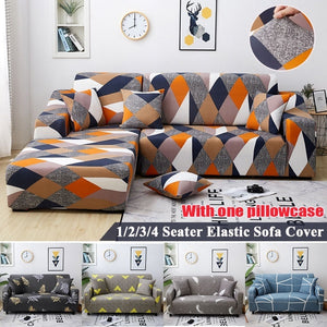 9 Colors 1/2/3/4 Seaters Sofa Slipcover Stretch Protector Soft Couch Cover Anti-Slip Elastic Home Indoor Furniture Decor With One Pillowcase