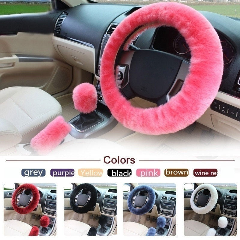 1/3 Pcs/set Winter Soft Plush Car Steering Wheel Cover Handbrake Cover Sets Wool Warm Vehicle Interior Design Accessories