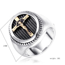 Load image into Gallery viewer, Vintage Men's 316L Stainless Steel Jesus Cross Ring Religious Gold and Silver Jewelry