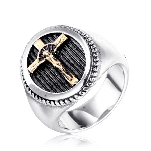 Vintage Men's 316L Stainless Steel Jesus Cross Ring Religious Gold and Silver Jewelry