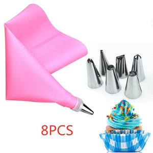 8PCS/26 PCS/Set Silicone Pastry Bag Tips Kitchen DIY Icing Piping Cream Reusable Pastry Bags +24 Nozzle Set Cake Decorating Tools