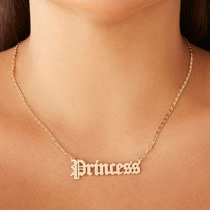Letter Princess Necklace Old English Font Alphabet Princess Clavicle Short Chain Necklace Fashion Personality Female Jewelry Gift For Girls Women Lovers
