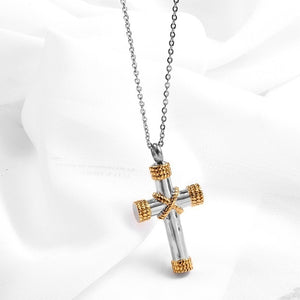 Stainless steel Funeral Cremation Gold Cross Pendant Keepsake Urn Necklace for Ashes Memorial Jewelry