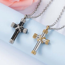 Load image into Gallery viewer, Stainless steel Funeral Cremation Gold Cross Pendant Keepsake Urn Necklace for Ashes Memorial Jewelry