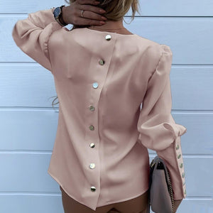 Women Fashion Solid Color Metal Buttoned Detail Casual Blouse Pullover Shirt Tops Plus Size XS-8XL