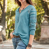 New Women Printed Button Casual V Neck Long Sleeves Plus Size Cotton T-Shirt Autumn Slim Fit Pullover Blouse