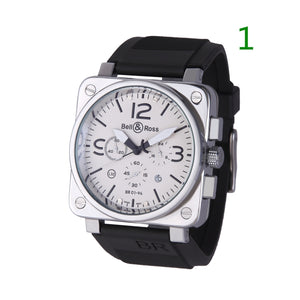 Mens Military quartz Movement Wristwatches watches Silicone Rubber Straps Watch(44MM 12Colors)