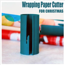Load image into Gallery viewer, Sliding Wrapping Paper Cutter Christmas Gift Wrapping Paper Roll Cutter Tool Cuts the Prefect Line Every Single Time