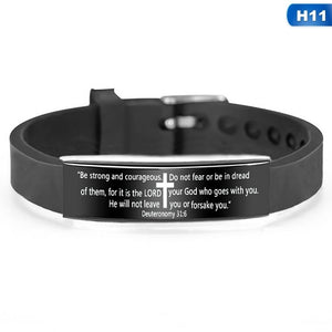 17 Styles Religious Cross Jesus Scripture Quote Christian Bible Verse Inspirational Faith Stainless Steel Silicone Bracelets For Men Women Personalize Adjustable Jewelry Gift
