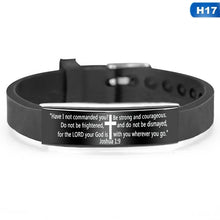 Load image into Gallery viewer, 17 Styles Religious Cross Jesus Scripture Quote Christian Bible Verse Inspirational Faith Stainless Steel Silicone Bracelets For Men Women Personalize Adjustable Jewelry Gift