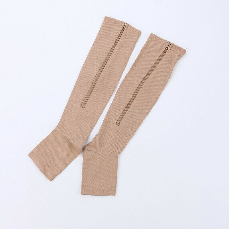 Unisex Open Toe Compression Zip Sox Socks Knee Stockings Zipper Leg Support