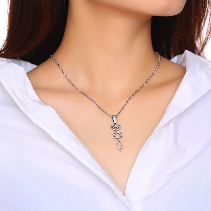 Silver Messianic Seal Pendant Spiritual Religious Jewelry Grafted Pendant Necklace with Gift Bag