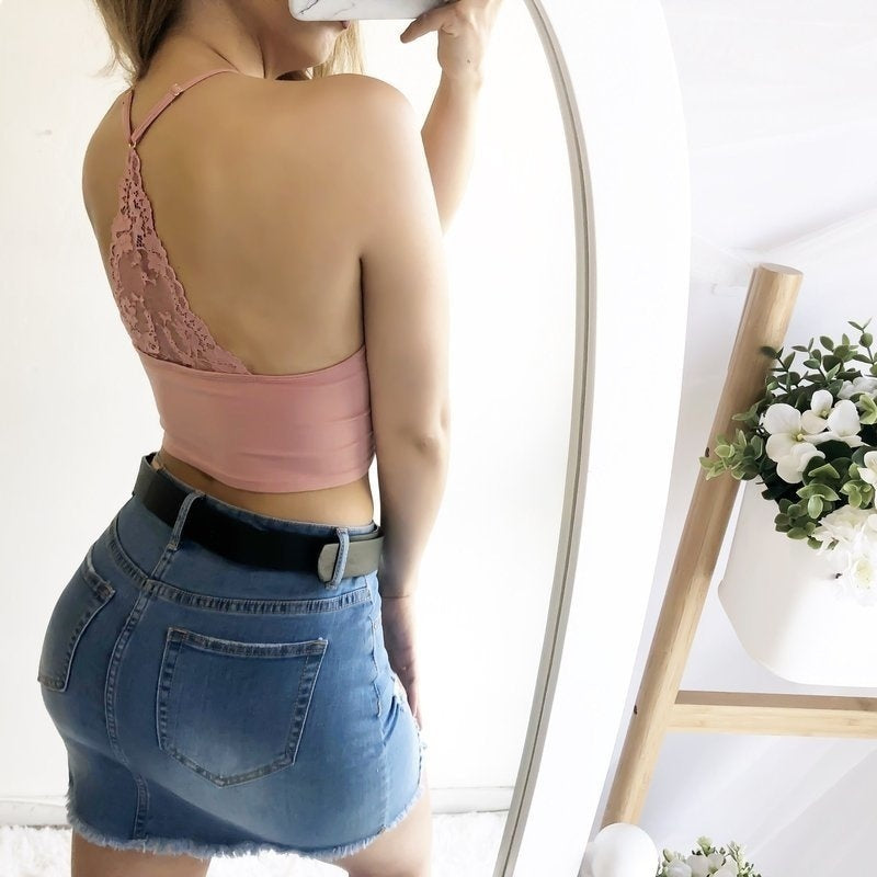 8 Color Floral Lace Halter Neck Bra Crop Top Casual Women Ladies Sleeveless Solid Color Spaghetti Strap Bralettes Underwear Halter Tops Lingerie