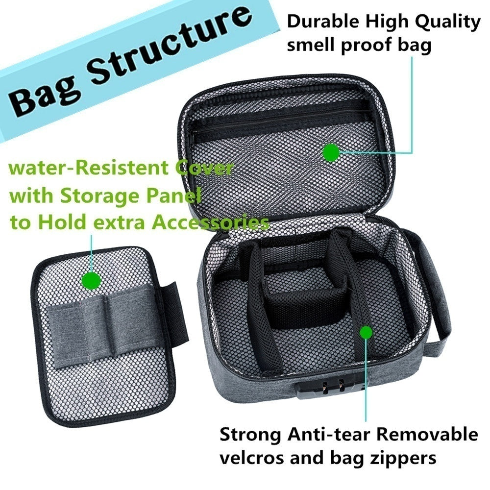 Smell Proof Bag with Combination Lock Odor Proof Stash Case Container for Herbs Medicine Cigarette Lock Box Bag Travel Storage Case