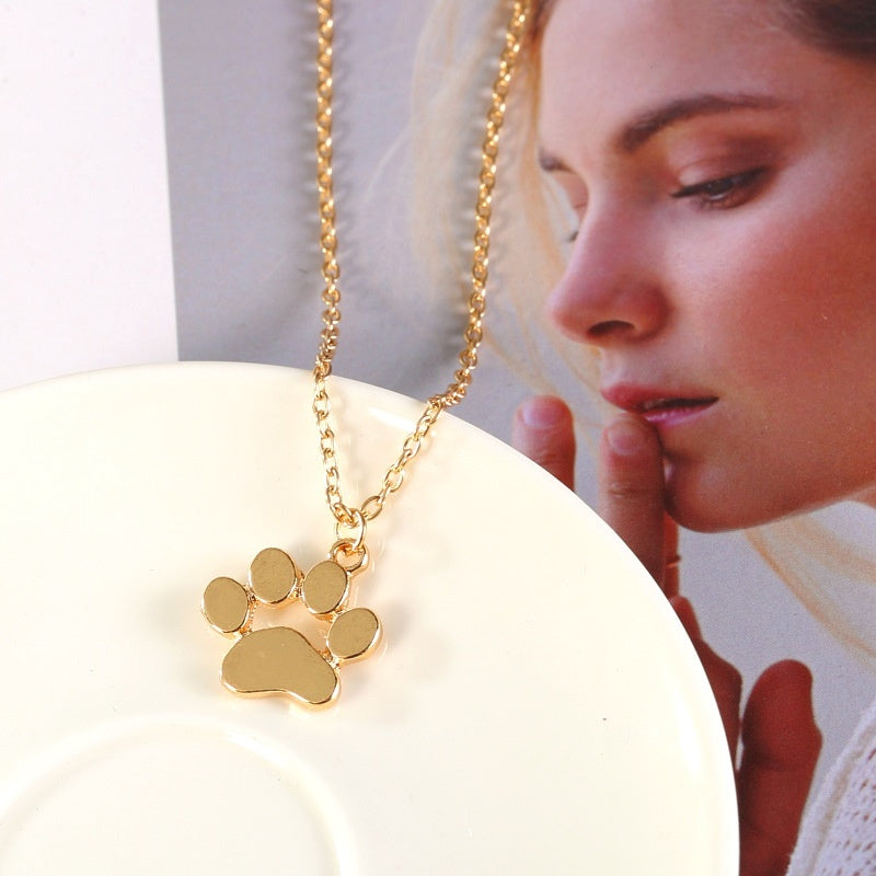 European and American jewelry popular cute animal cat paw paw necklace 18k gold /925 sterling silver footprints necklace