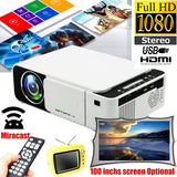 New Fashion 120Inchs 1080P HD Projector Household Office Miracast Projector Home Theater Projector Portable Video Projector 130 inch LCD Screen Office Projector Support AV/USB/HDMI/VGA/IR
