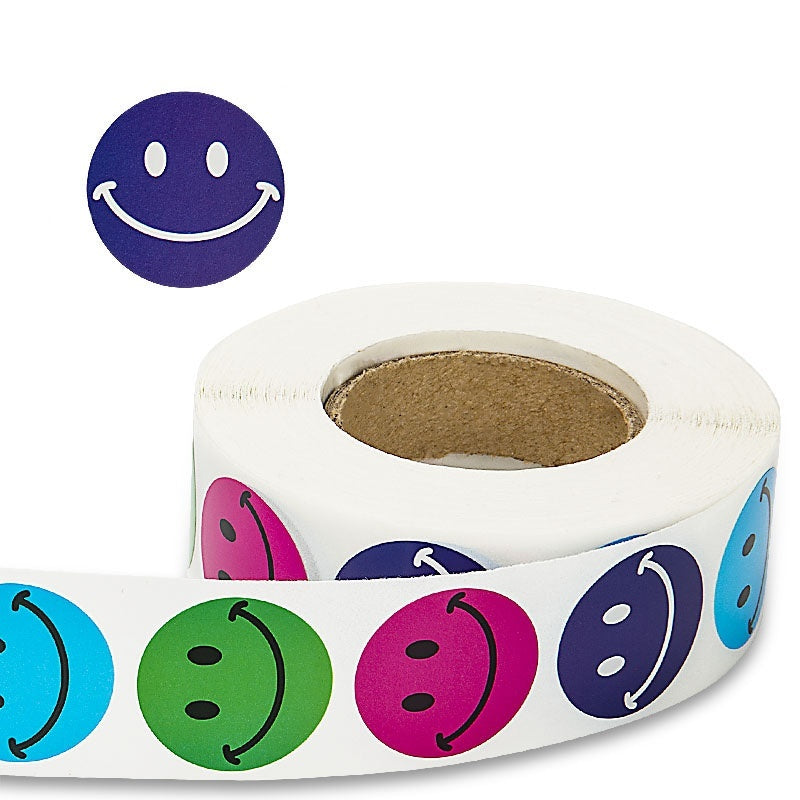 Round 4 Types Smiley Face Stickers for Seal Labels Red, Green, Blue, Dark Blue Face Stickers 500 Labels Per Roll