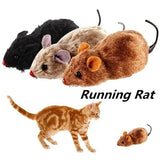 1Pcs Funny Lifelike Plush Mouse Running Rat Toy for Cats Dogs Pets Kids Random Color