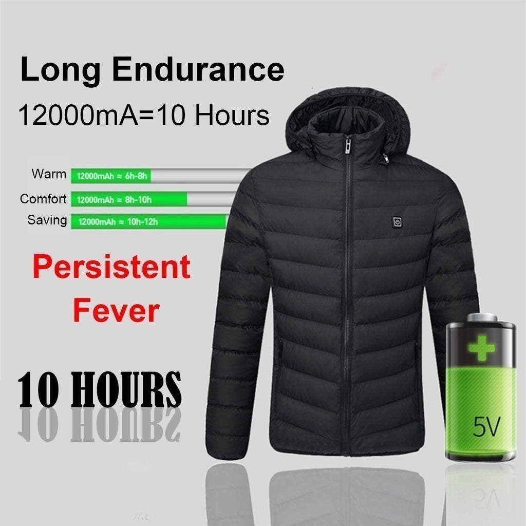 2020 New Upgrade Mens Winter Heated USB Hooded Work Jacket Coats Adjustable Temperature Control Safety Clothing (Three Stall Ajustable Temperature Control)