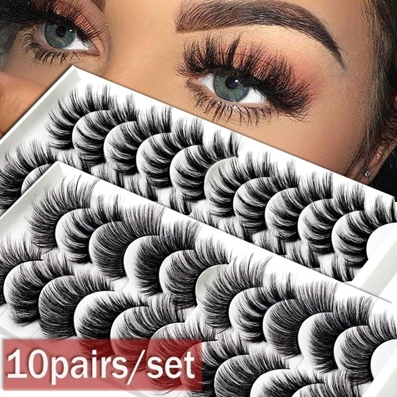 8styles 10Pairs Multipack Natural False Eyelashes Soft Cross Mink Lashes Multilayer Fake Mink Eyelashes Women Makeup Tools