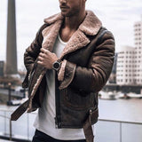 4 Colors High Quality Fashion Men Cashmere Padded Leather Jacket Vintage Man Streeetwear Thicken Coat Motorcycle Jackets Pullovers Plus Size