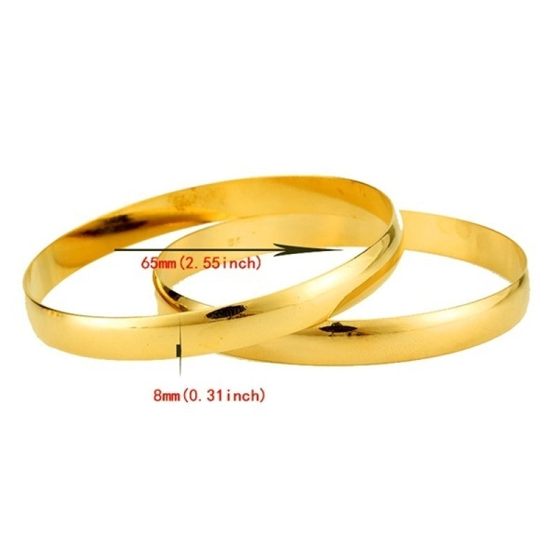 8mm 18k Gold Plated Bangle New Arrival Dubai Gold Jewelry Ethiopian Bangle Bracelet Wedding Accessories 1PC