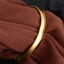 Load image into Gallery viewer, 8mm 18k Gold Plated Bangle New Arrival Dubai Gold Jewelry Ethiopian Bangle Bracelet Wedding Accessories 1PC