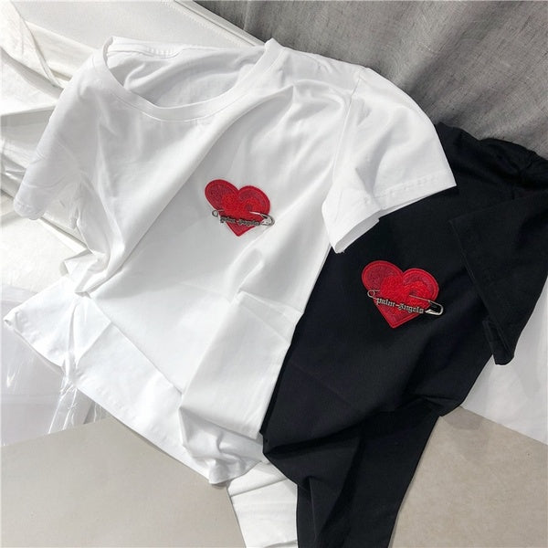 Men Women Long T-shirt Palm Angels High Streetwear Hip Hop Love Tops Harajuku Kanye West Tee T Shirt