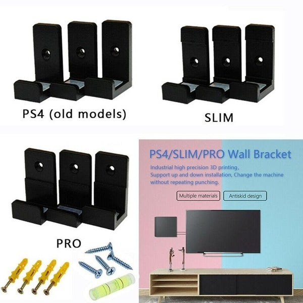 Wall Mount Set Wall Bracket Holder For Playstation 4 Ps4 Slim Pro Game Console