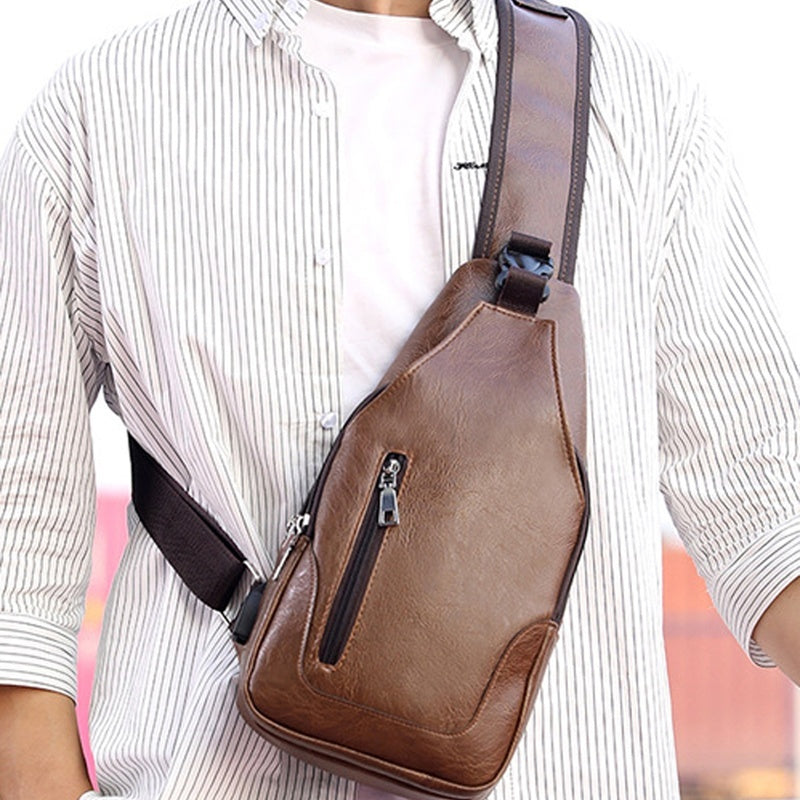Waterproof PU Leather Chest Bag Outdoor USB Backbag with Headphone Hole Functional Travel Sling Bag