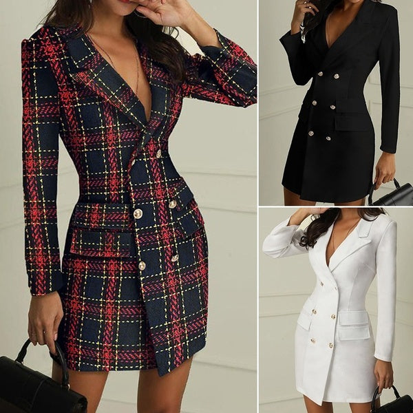 2020 Fashion Women Office Business Outfit Solid Button Midi Blazer Dress Elegant Casual Long Sleeve V Neck Blazer Coat Suit