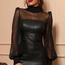 Load image into Gallery viewer, Women Fashion Sexy Faux Leather Mesh Dot Midi Dress