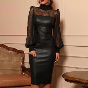 Women Fashion Sexy Faux Leather Mesh Dot Midi Dress