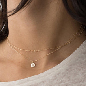 Women Fashion Dainty Necklace name Initial Custom Personalized Letter Layered long pendant