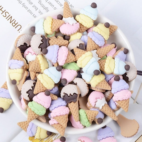 10 Pcs/lot Resin Simulation Ice Cream Slime Fluffy Charm Filler Kids Clay Decoration Toys