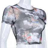 1 Pcs Women Short /Long Sleeve Turtleneck Crop Top Angel Cupid Print Sexy Sheer Mesh T-Shirt GIN