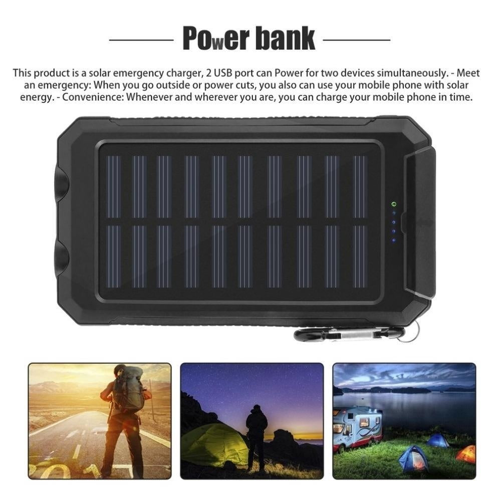 High capacity Portable Solar Power Bank Dual-USB Led Solar Battery Charger for all Phone Universal Charger