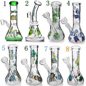 14mm Joint 8 Types Colorful  Cartoon Sticker Glass Water Pipes 7.8 Inch Tall