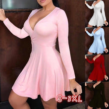 Load image into Gallery viewer, Women's Fashion Long Sleeve Dress Solid Color Deep V Neck Party Dress Summer Autumn Casual High Wasit Short Wrap Dresses