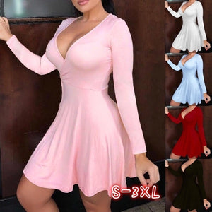 Women's Fashion Long Sleeve Dress Solid Color Deep V Neck Party Dress Summer Autumn Casual High Wasit Short Wrap Dresses
