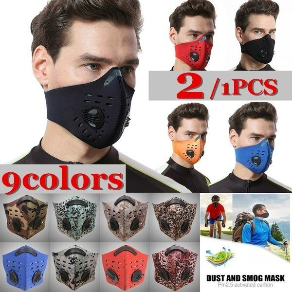2/1Pcs 4 Carbon N99 Filters Dust Mask Pollution Pollen Allergy Woodworking Running Washable Neoprene Half Face Mouth Mask