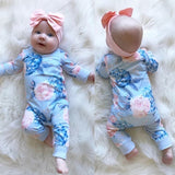 Blue Infant Baby Girl Floral Romper Bodysuit Jumpsuit+Headband Clothes Outfit 0-24 Months