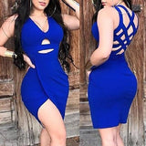 Women Fashion Sexy V Neck Hollow Out Bodycon Dress