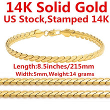 Load image into Gallery viewer, 14K Solid Yellow Gold Men's Bracelet Chain For Men Jewelry Women Jewelry 215mm 8.5' Wide 5mm