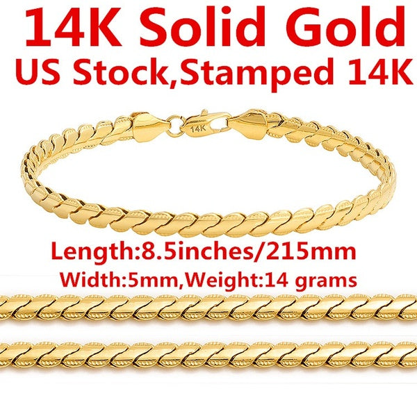 14K Solid Yellow Gold Men's Bracelet Chain For Men Jewelry Women Jewelry 215mm 8.5' Wide 5mm